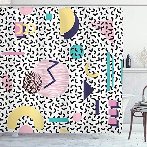 ABAKUHAUS 90s Douchegordijn, Retro Geometrische Vormen, stoffen badkamerdecoratieset met haakjes, 175 x 220 cm, Navy Geel Roze