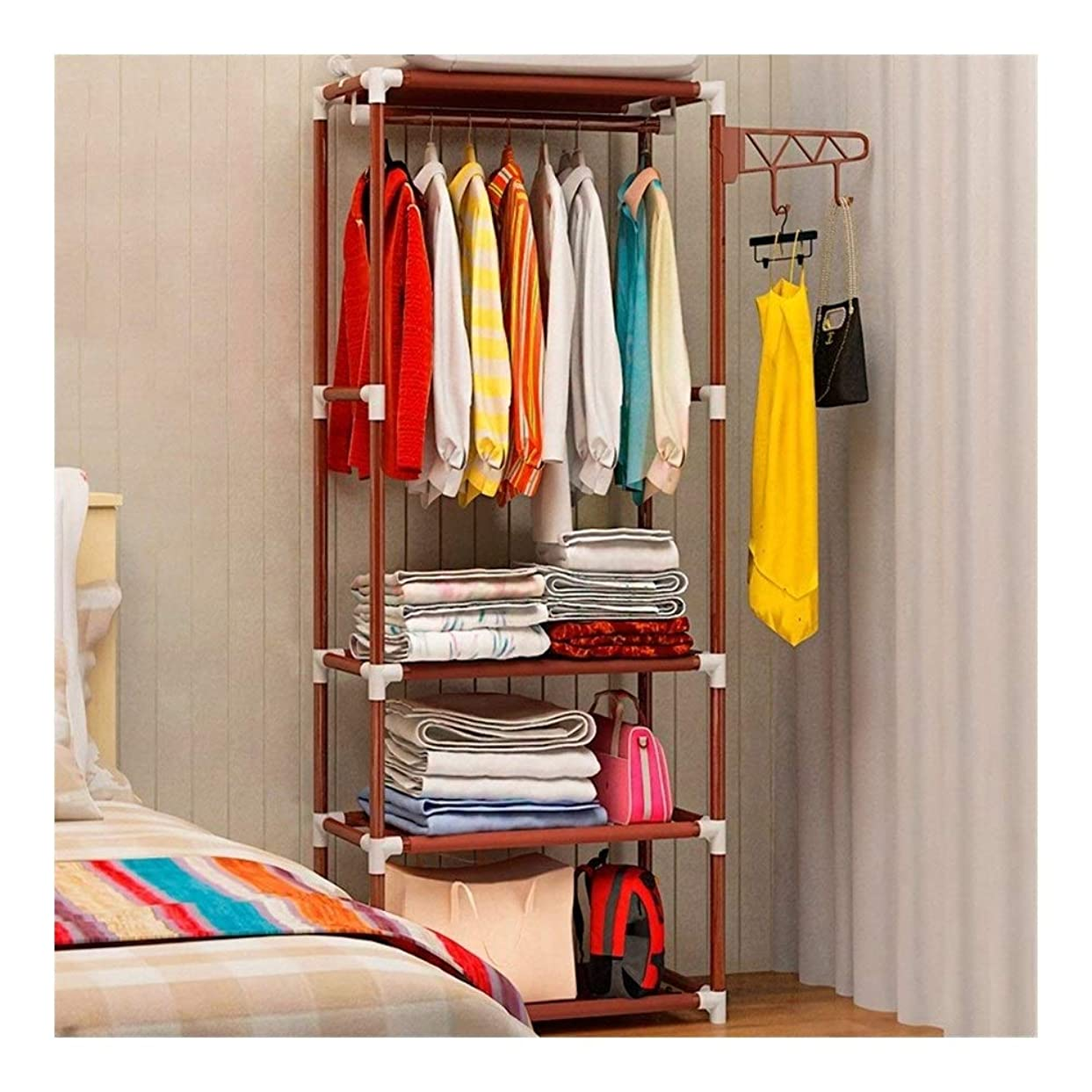 呼び起こすレバー収納棚ハンガーラック寝室用家具ハンギングラック (Color : 1)
