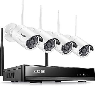 ZOSI 1080P Kit de Videovigilancia WiFi Inalámbrico 2MP Sistema de Seguridad 8CH Grabador NVR + (4) Cámara IP Exterior/Interior Visión Nocturna Alarma de Movimiento P2P Sin Disco Duro