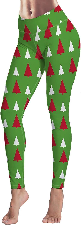 Women's Printed Leggings Christmas Tree Gifts Bells Snowflake bluee Background High Waist Tummy Control Yoga Pants Full Length