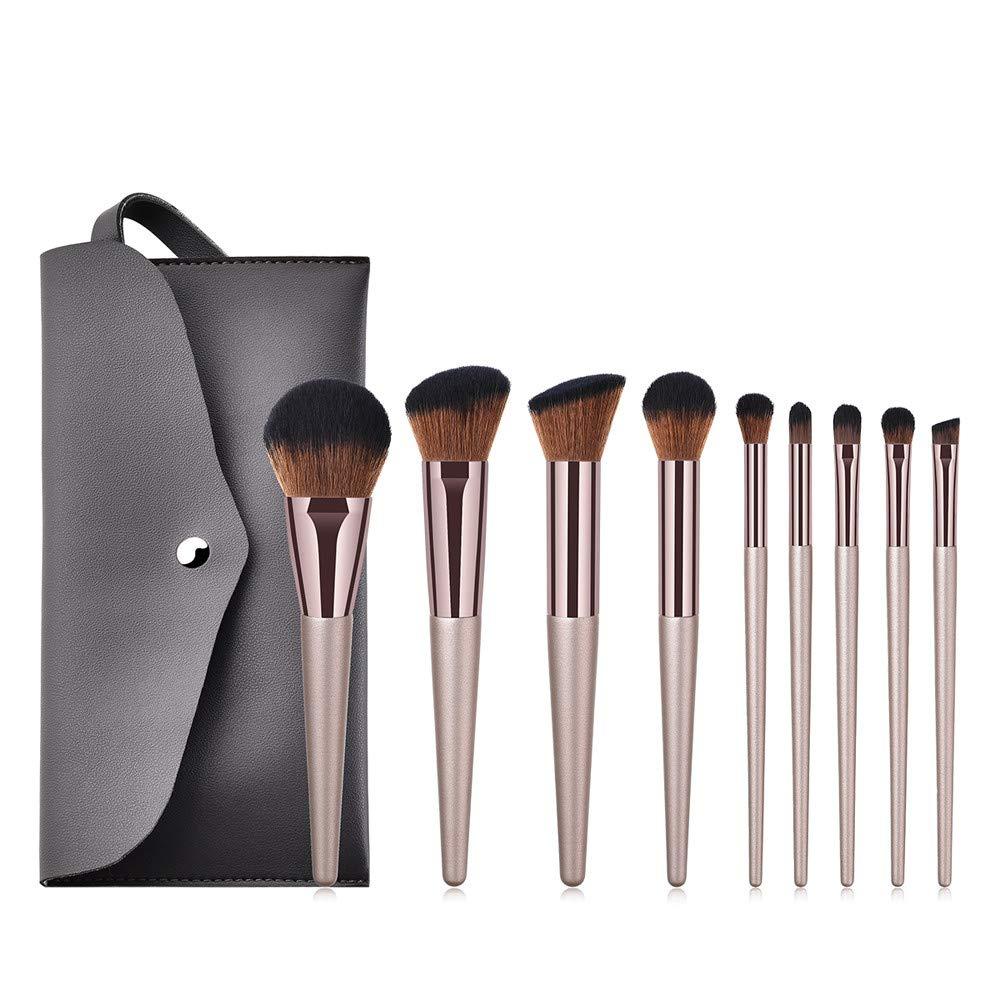 LATINDAY ◕‿◕ Makeup Brushes 9 Pcs Premium Synthetic Make up Brushes Champagne Gold Brushes for Foundation