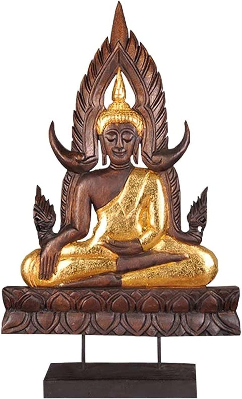 Statue Teak Buddha SEAL limited product Meditation Garden Fees free Retro