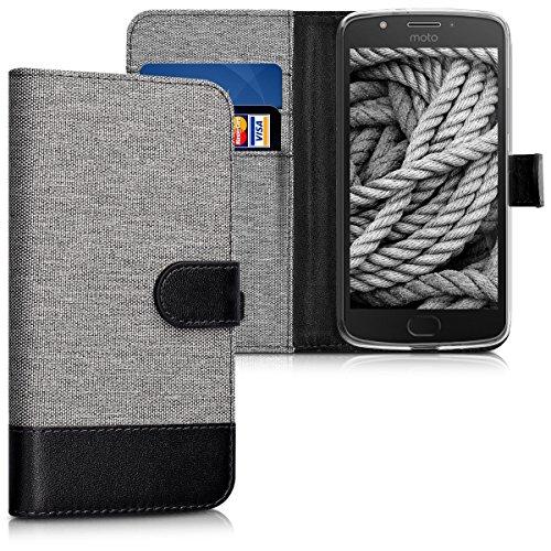 kwmobile Wallet Hülle kompatibel mit Motorola Moto E4 - Hülle mit Ständer - Handyhülle Kartenfächer Grau Schwarz