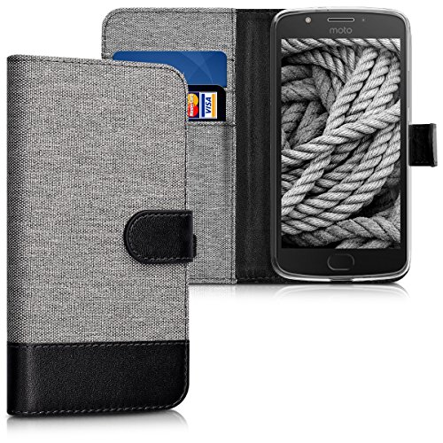 kwmobile Hülle kompatibel mit Motorola Moto E4 - Kunstleder Wallet Hülle mit Kartenfächern Stand in Grau Schwarz