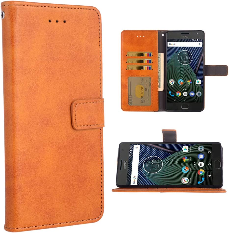 Phone Cover for Moto G5 Plus Folio Flip Wallet Case,PU Leather Credit Card Holder Slots Full Body Protection Kickstand Protective Phone Cover for Motorola MotoG5 5th Gen G5+ XT1687 G5plus Brown