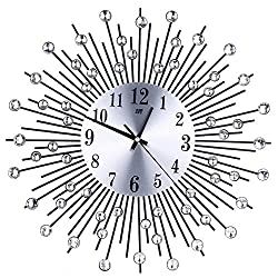 3D Wall Clock Diamonds Non-Ticking Silent Dazzling Clock for Home Office