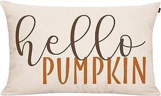 Best GTEXT 20x12 inch Fall Throw Pillow Cover Hello Pumpkin Cushion Cover Autumn Decor Fall Pumpkins Pillow Cover Outdoor Pillow Linen Square Pillow Cover for Cushion,Sofa Fall Pillow Cover Review