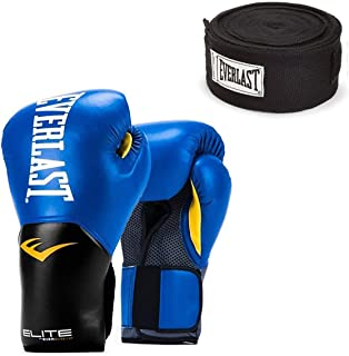 Everlast Blue Elite Pro Style Training Boxing Gloves 14 ounce and Black 120 Inch Hand Wraps