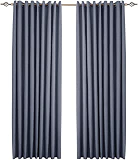 1 Piece 100% Blackout Curtain Panel Double Layer Super Thick Insulated Grommet Thermal Energy Saving Blackout Draperies (N...