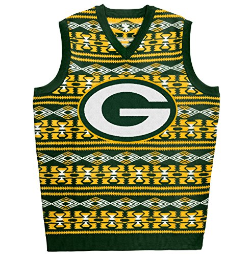 Green Bay Packers Aztec Print Ugly Sweater Vest Large