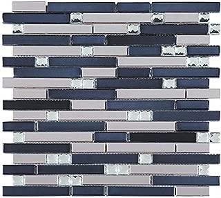 Silver Stainless Steel Tile + Silver Glass Tile (Diamond Shape) + Black Glass Mosaic Tile