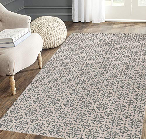 SHACOS Baumwollteppich Groß 90x150 cm Wohnzimmer Teppich Grau groß Teppich Waschbar Gewebt Baumwolle Retro Vintage Teppiche für Wohnzimmer Schlafzimmer