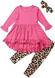 Carolilly 3Pz Completo da Bambina Neonate Top Ruffle+Pantaloni Stampata Leopardati Leggings Abiti Sportivi Casual