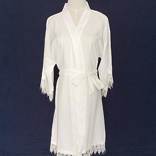 Traje de novia blanco kimono túnica de las mujeres (con adornos de encaje) -Ropa de Kimono Robe-Dama de honor regalo-boda ...