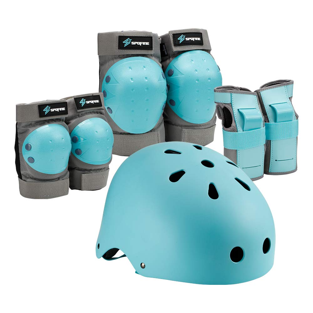 S SPOFINE Kids & Adult Helmet, Knee and Elbow Pads with Wrist Guards, Protective Gear Set (7 Pieces ) for Youth, Boys and Girls' Skateboard, Bike, Roller Skating, Cycling, Scooter, Rollerblade : Sports & Outdoors