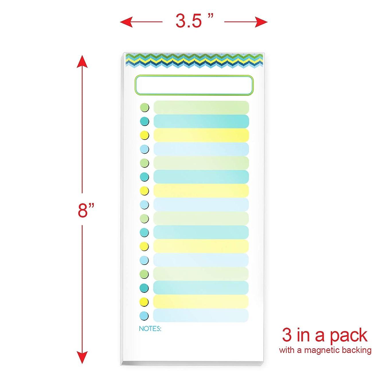 局ドラフト再撮りTo-Doリスト 磁気メモ帳 3パック ノートパッド (ティール イエロー グリーン)