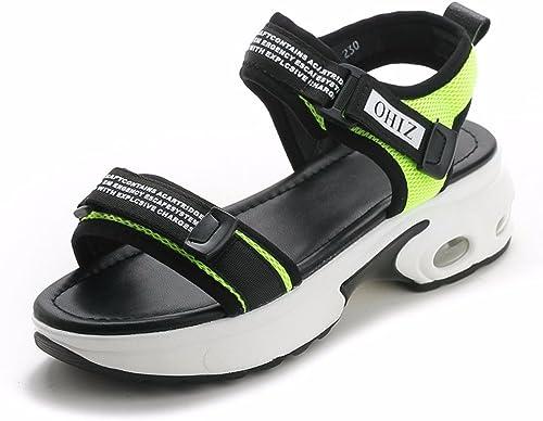 GTVERNH Chaussures pour femmes D'épais D'épais D'épais Bas Sandales Les Filles Au Milieu Des Talons Des étudiants Des Sandales Des Muffins Velcro Coussins D'Air Des Sports. c74