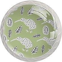 FURINKAZAN Kabinet Knop Trek Handvat Kiwi Bird Green 4-Pack Keuken Kastdeur