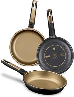 comprar comparacion BRA Terra - Set de 3 sartenes, aluminio fundido, aptas para todo tipo de cocinas, incluido inducción y vitrocerámica, apta...