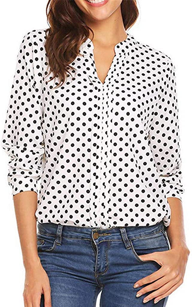NREALY Blusa Womens Polka Dot 3/4 Sleeve Blouse Tops Ladies Casual Office Work V Neck T-Shirt
