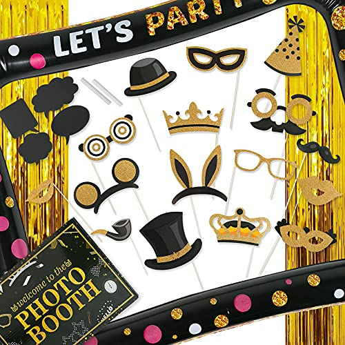 Partyville Photo booth Props – Pre Assembled 23 Pcs Wedding Photo Booth Props – Customizable Birthday Photo Booth Props…