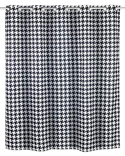 WENKO schimmel douchegordijn Fashion Flex antibacterieel, waterafstotend, wasbaar, schimmelresistent met geïntegreerde hanginrichting, polyester, zwart, 200 x 180 cm