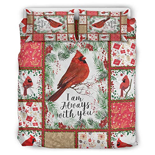 XHJQ88 Cardinal Bird I Am Always With You Bedspread Comforter Sets Set of 3 Pillow & Duvet Cases - Soft Comfort Bohemia Quilt Bedspread white 104x90 inch