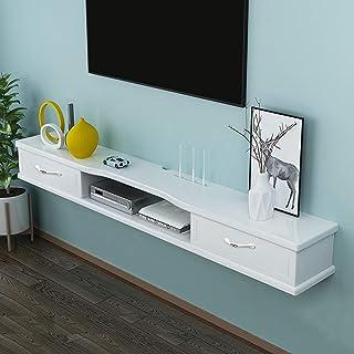 Meuble TV Suspendu Meuble de télévision mural avec 2 tiroirs flottant Moderne Minimaliste Casier accrochant Console multim...
