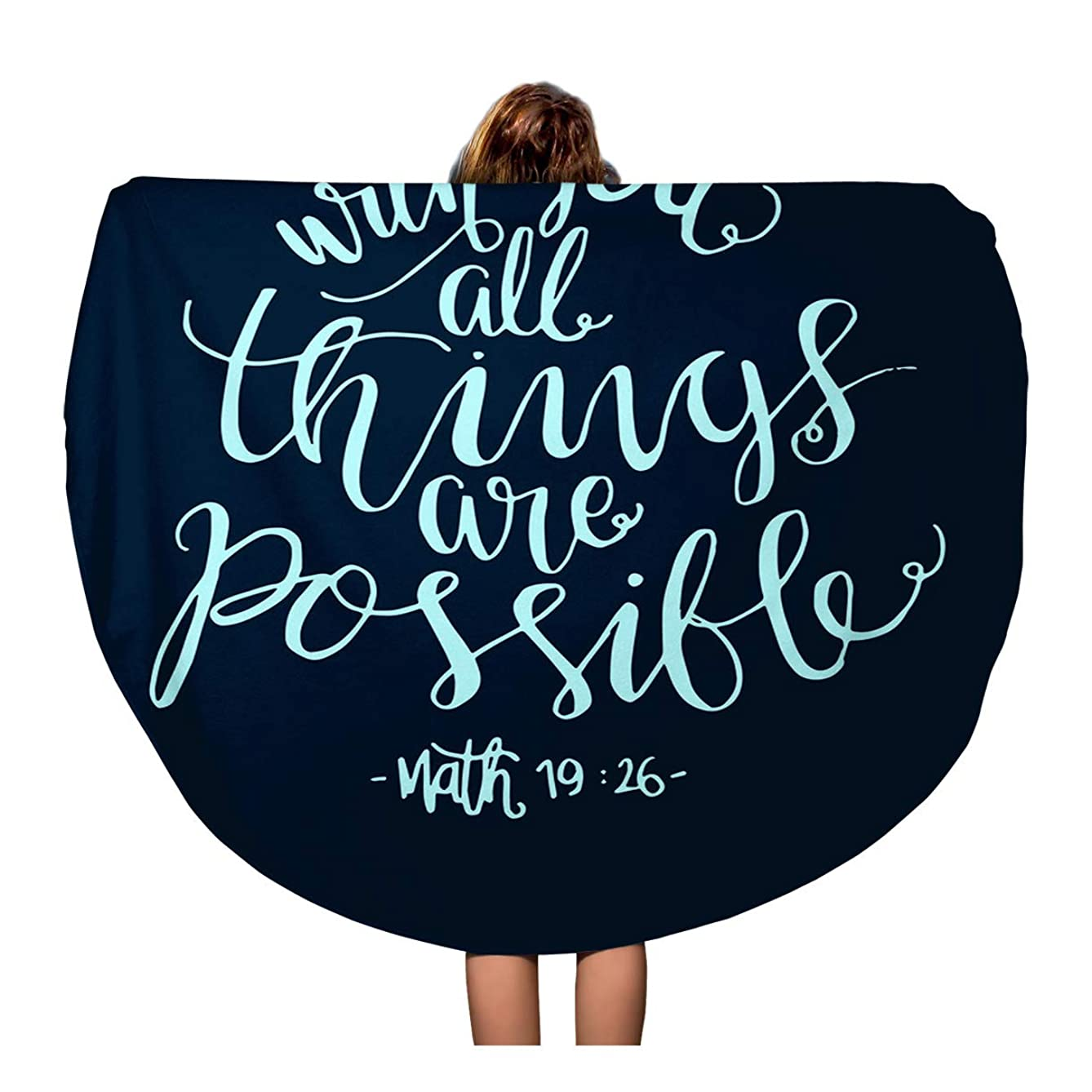Pinbeam Beach Towel Verse All Things are Possible Modern Bible Travel 60 inches Round Tapestry Beach Blanket