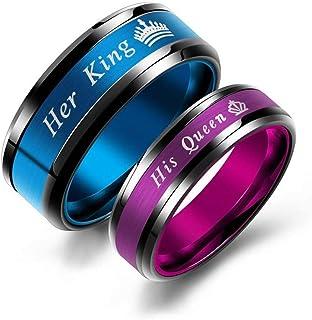 طقم من قطعتين متطابقتين من خواتم الوعد من الفولاذ المقاوم للصدأ مع الملكة وخاتم الخطوبة الخاصة بها