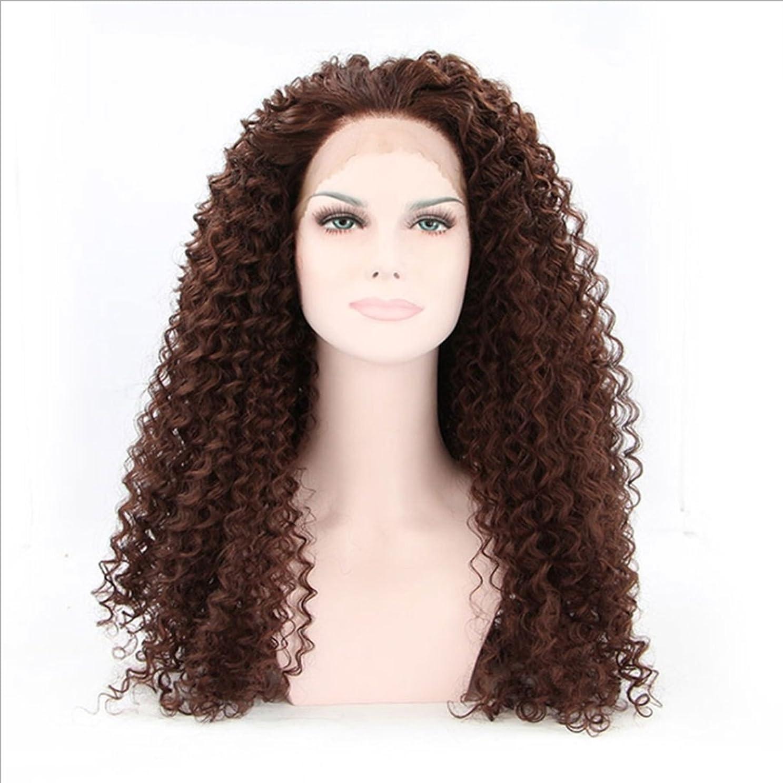 ピクニック引っ張る容疑者Koloeplf (ブラウン黒、黒)女性のための耐熱性のウィッグレース前部アフリカンスモールロールズナチュラルカラーの髪完全な手織りの髪のための合成長いカーリーウィッグ (Color : Brownish black)