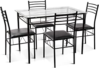 Best black glass top dining table Reviews