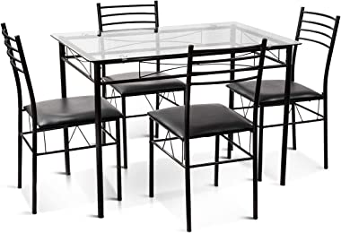 Tangkula Dining Table Set, 5 Pieces Dining Set with Tempered Glass Top Table and 4 Chairs, Kitchen Dining Room Furniture, Bla