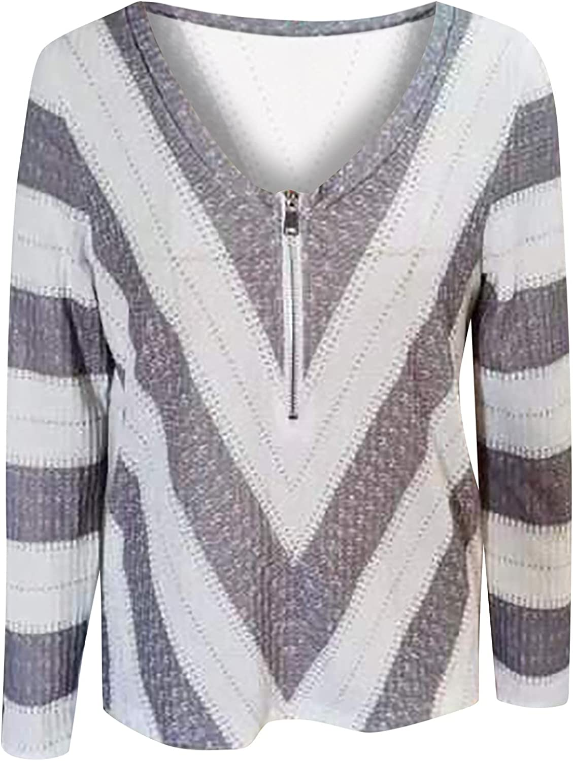 RFNIU Plus Size Sweaters For Women Fall Fashion Casual Striped Zip Up V Neck Pullover Tops Loose Long Sleeve Blouses