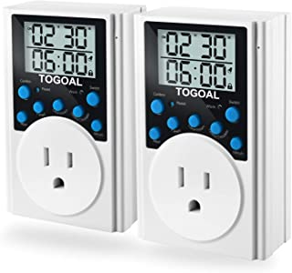 TOGOAL Timer Outlet Infinite Cycle Programmable Plug Switch for Lights and Home Appliances, 2 Packs (15A/1800W)