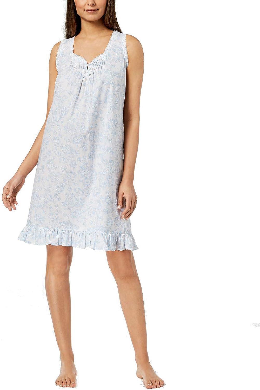 Miss Elaine Lace-Trim Rose-Print 100% 5 popular Bl Nightgown quality assurance Cotton Woven