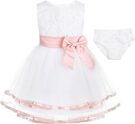 d8ee44ca8 Freebily Vestido Blanco Brodado de Princesa Boda Fiesta Bautizo para Bebé  Niña Recién Nacido (0
