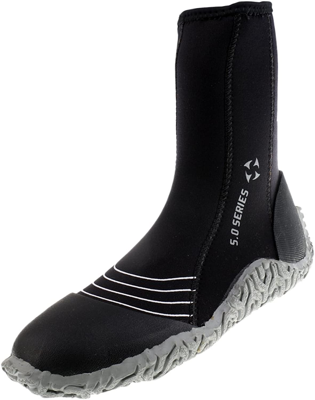 Baoblaze AntiSlip Wetsuits Booties Premium Neoprene 5mm Hi Top Zipper Boot for Men Scuba Diving, Surfing, Water Sports
