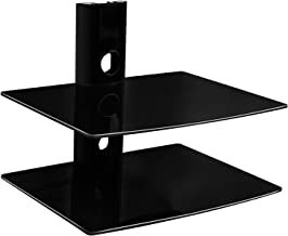 Mount-It! MI-802 Floating Wall Mounted Shelf Bracket Stand for AV Receiver, Component, Cable Box, Playstation4, Xbox1, VCR Player, Blue Ray DVD Player, Projector, Load Capacity 44 lbs, Two Shelves, Tinted Tempered Glass