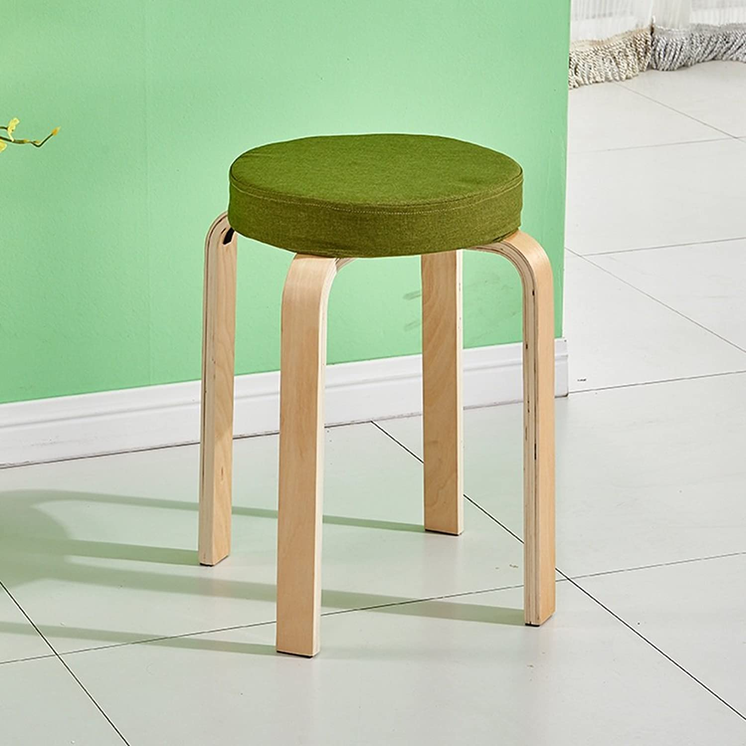 Solid Wood Stool, seat Cover Detachable, Simple Bench, Fashion Stool, Creative Living Room Table Stool (color   Green)