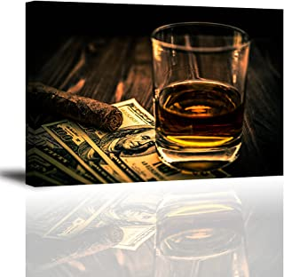 Cigar and Wine Wall Art for Bar, PIY Whiskey Picture Canvas Painting Prints Artwork (Waterproof Home Decor, 1