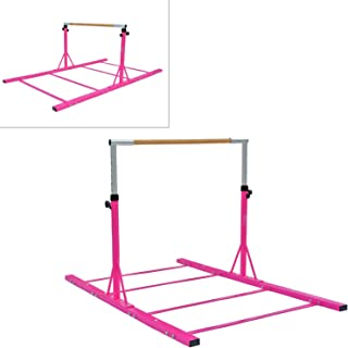 Modern-Depo Gymnastics Junior Training Kip Bar Pro | Expandable Adjustable (3'- 5') Horizontal Bar for Kids Home Indoor Outdoor Beech Wood - Pink