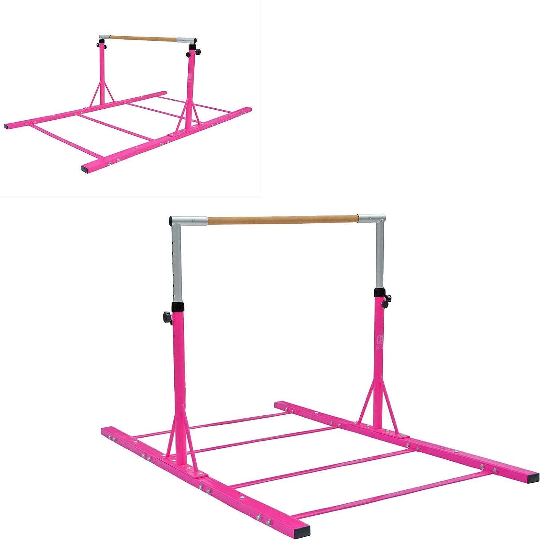 わざわざ不利益頭Modern-depo 体操 ジュニア トレーニング キップバー プロ 拡張可能 調節可能 (3フィート-5フィート) 水平バー 子供用 自宅 屋内 屋外 ブナ材用 ピンク