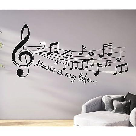 Tjapalo Pkm46 S 120cm Wandtattoo Wohnzimmer Musik Wandtattoo Musik Ist Mein Leben Music Is My Life Amazon De Baumarkt