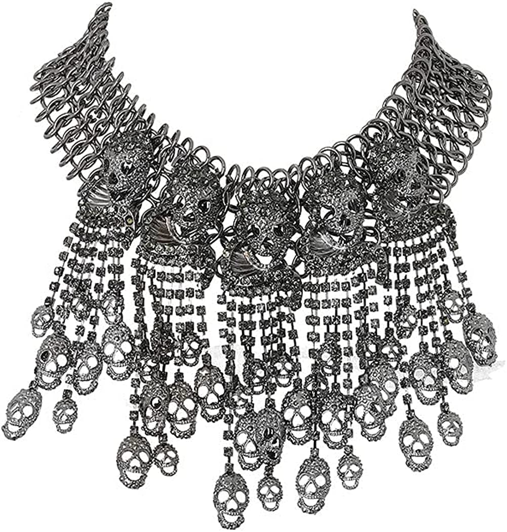 Vivilly Gothic Skull Necklace Black Rhinestone Halloween Festival Collar Chain Crystal Statement Necklace Jewelry Accessories for Women and Girls