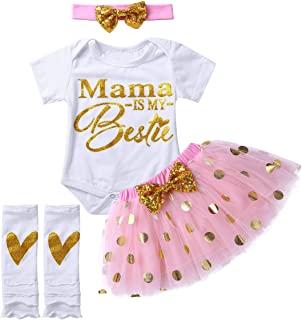 Agoky Baby Mädchen Bekleidungsset 4 Stück Buchstaben Druck Strampler Pailletten Mini Tutu Rock Stirnband Beinstulpen Set Sommer Outfits