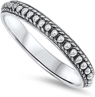 Sterling Silver Oxidize Finish Bali Design Ring Band (Size 3 to 13)