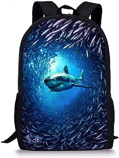 Shark Backpack Cool Animal Print School Bag Blue Sport Bookbag for Boys
