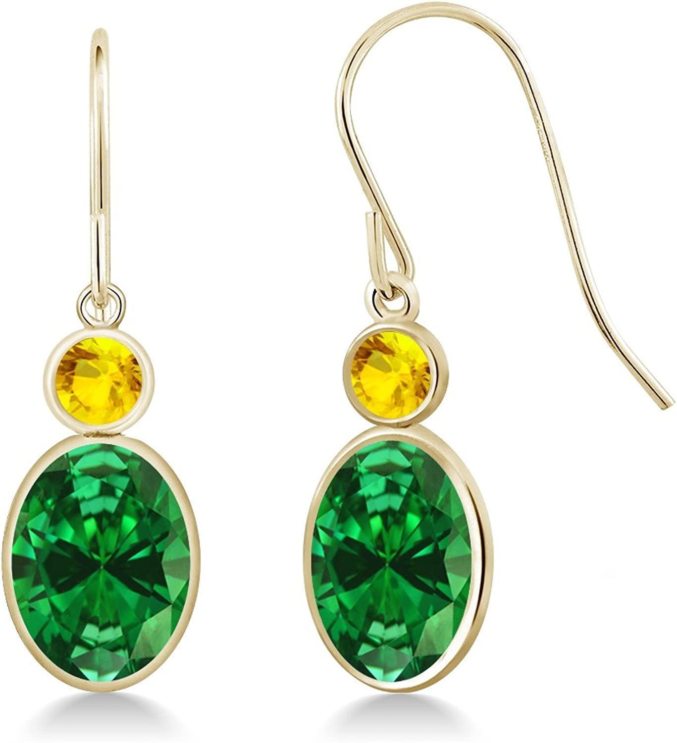 4.46 Ct Oval Green Simulated Emerald Yellow Sapphire 14K Yellow gold Earrings