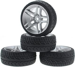 Hobbymarking 4Pcs/Set RC 1/10 On-Road 12mm Hex Split 5 Spoke Wheels Rubber Tires Tyre for RC Tamiya Traxxas HPI Kyosho